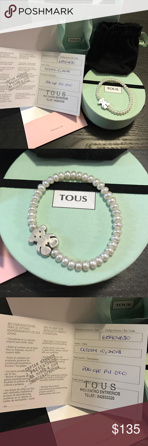 Silver Tous Bear Bracelet With Pearl Great Condition Comes With Bag Box And Certificate Tous Jewelry Bracele Tous Jewelry Fashion Accessories Clothes Design