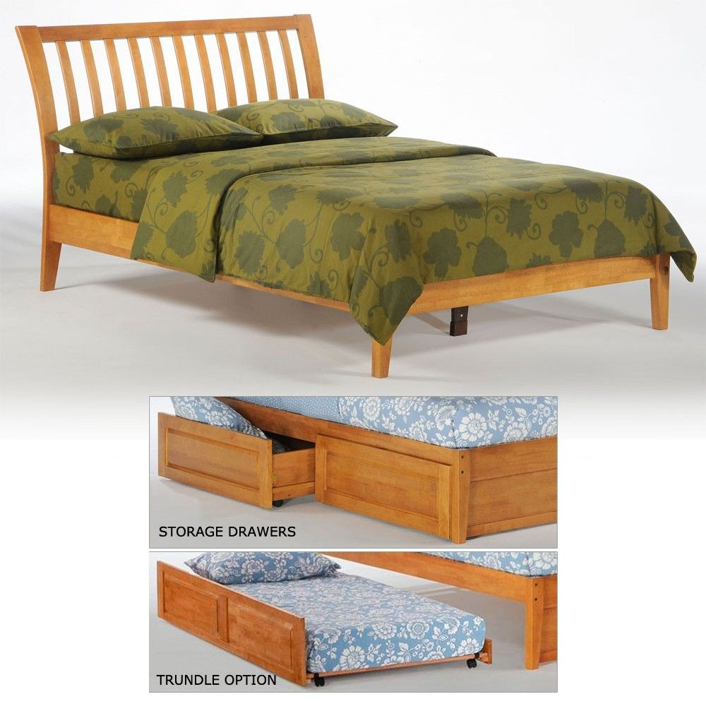 Nutmeg Wood Platform Bed In Medium Oak With Drawers Twin