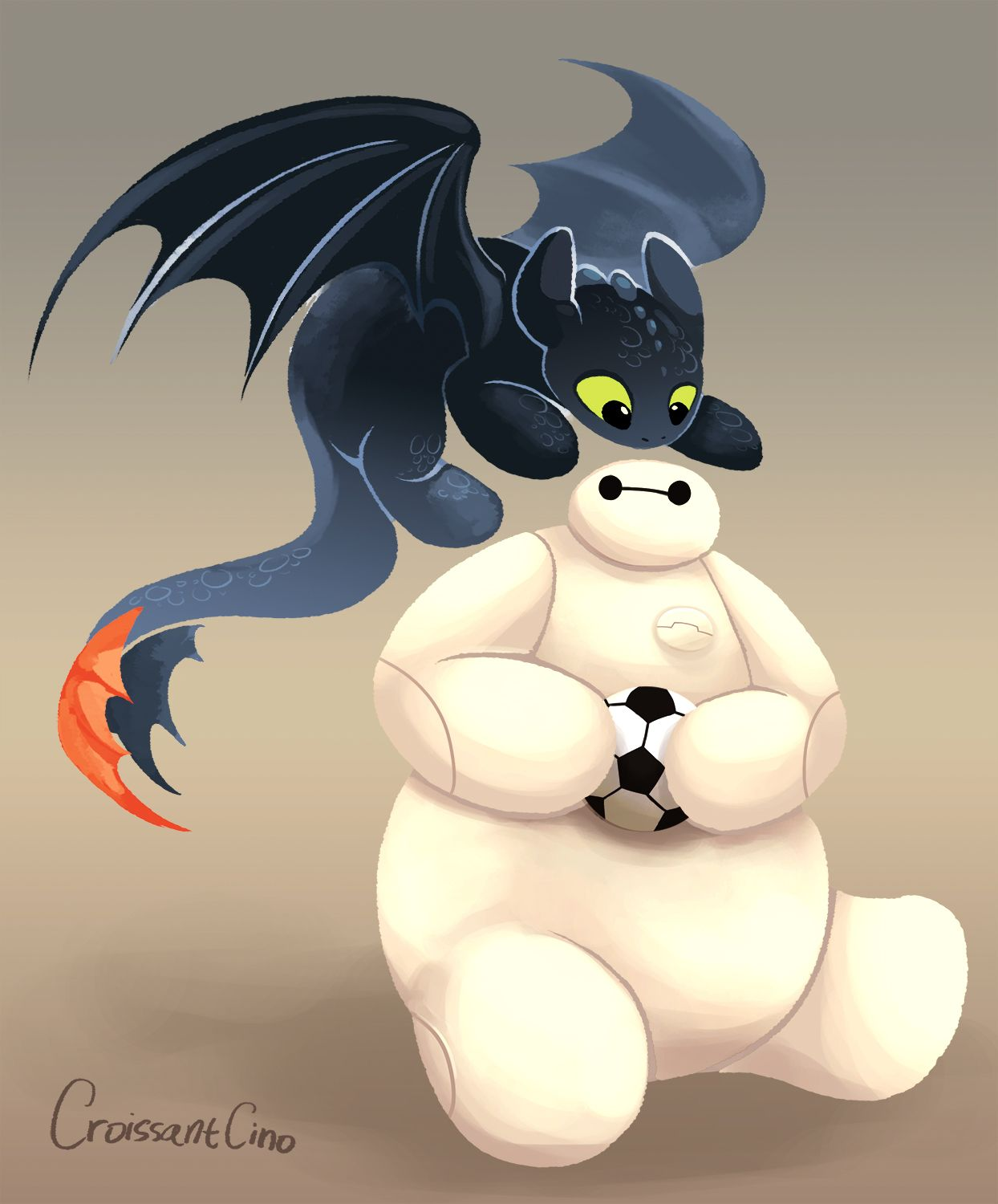 Finally Baymax got the ball Toothless: Me want! I know toothless is from DreamWorks,  but, this is just toooo cute! :)