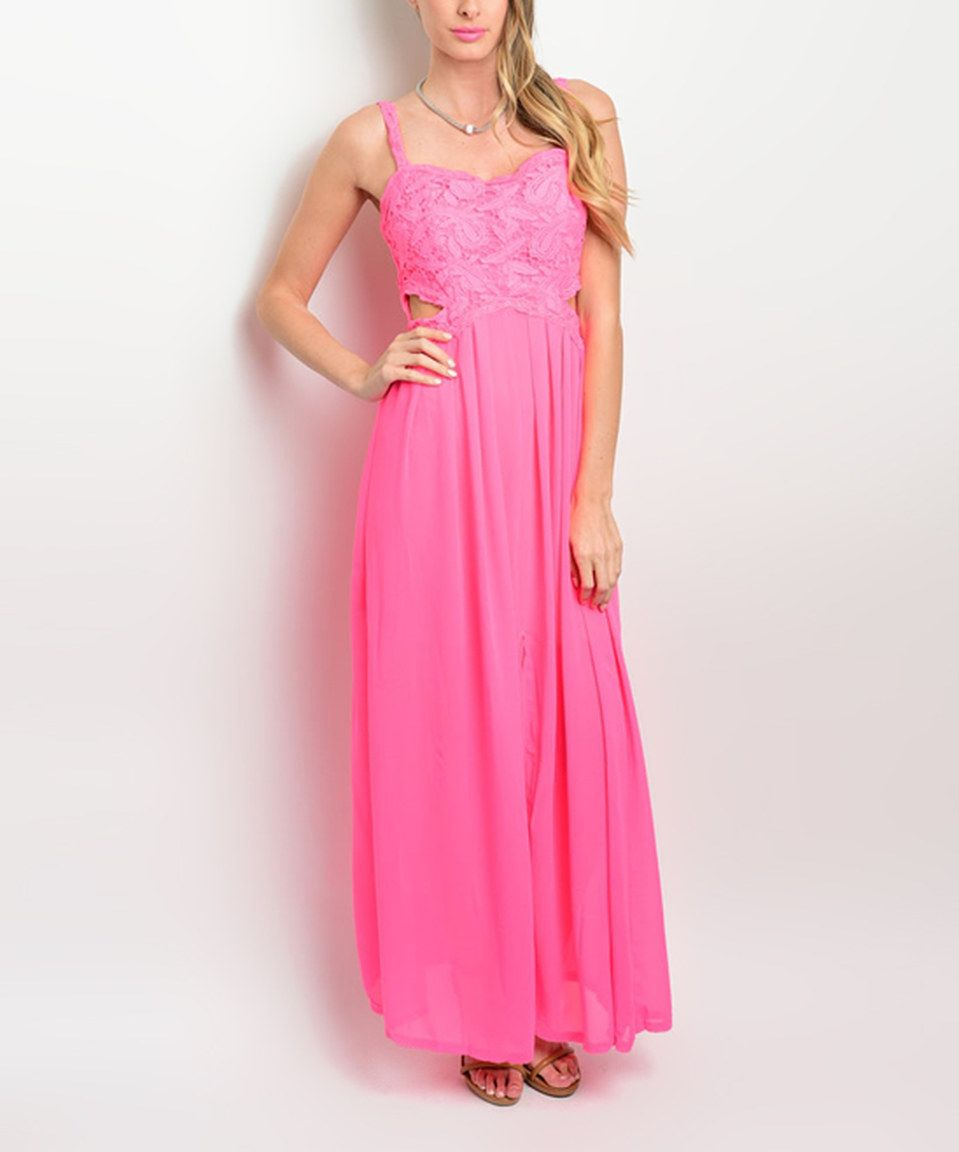 Look what I found on #zulily! Hot Fuchsia Lace-Accent Cutout Maxi ...