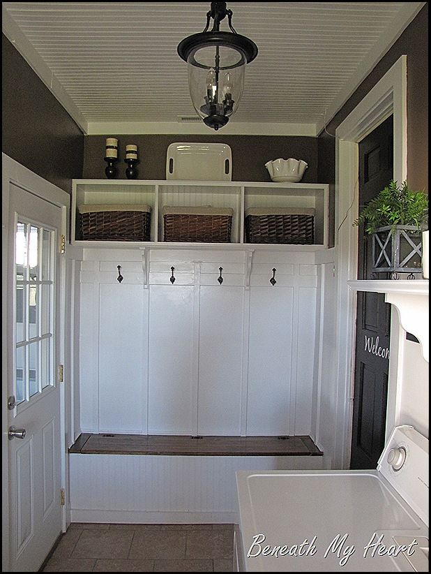 Mud Room Make Over. Adding A Mudroom To Our Garage, Garages, Home  Improvement, Laundry Rooms, Custom Shelving And Shoe Storage Bench The  Black Door To The ...