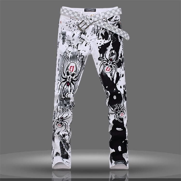 e4421efcb8a 2016 Spider Print Jeans For Men Fashion Skull Print Jeans Plus Size Skinny  Straight Men Denim Pants 1750