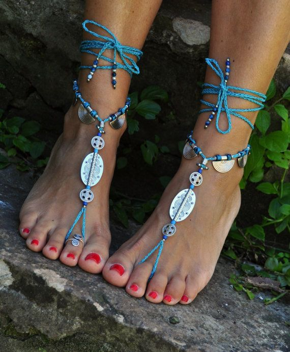 TURQUOISE and Silver Ethnic BAREFOOT SANDALS Foot Jewelry Wedding Sandals Toe Ring Anklet Crochet Barefoot Sandals Gift for Her