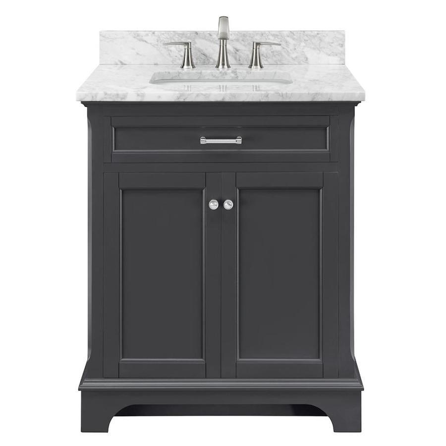 Scott Living Roveland 30 In Dark Gray Single Sink Bathroom Vanity With Natural Carrara Marble Top Lowes Com In 2021 Grey Bathroom Vanity Single Sink Bathroom Vanity Bathroom Sink Vanity