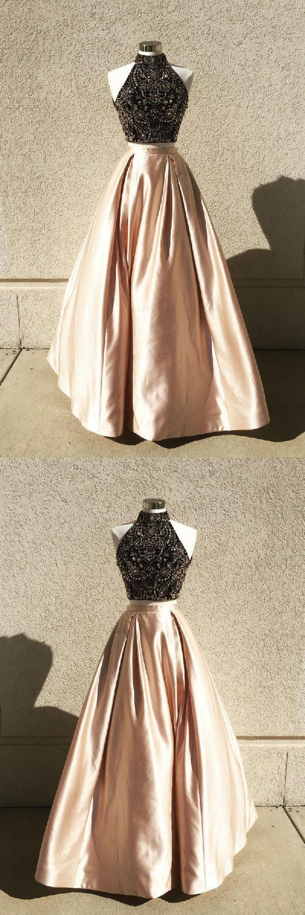 Customized engrossing prom dresses two piece champagne prom dresses