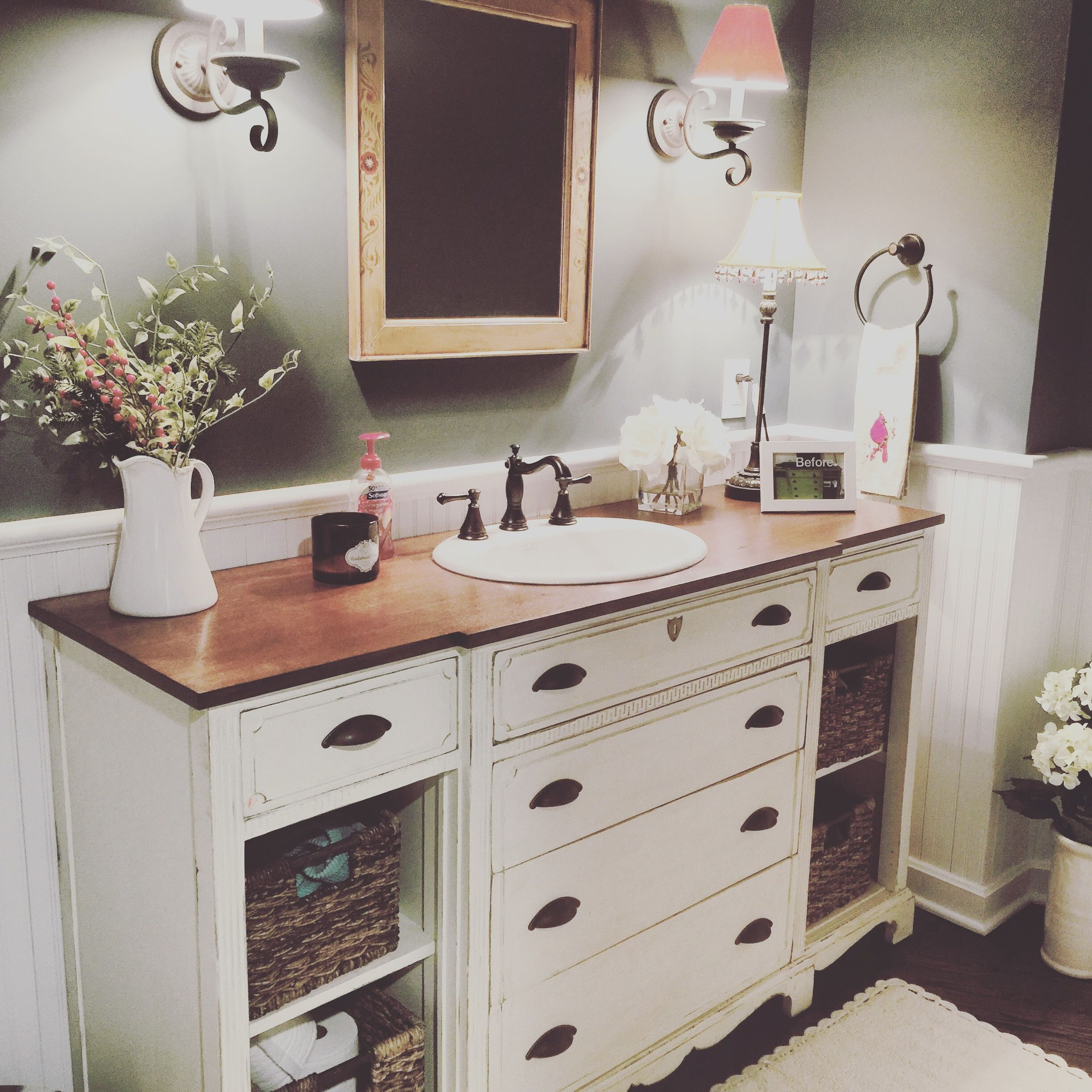 Photo of An Old Dresser Turned Into A Stunning Bathroom Vanity! | Bathroom