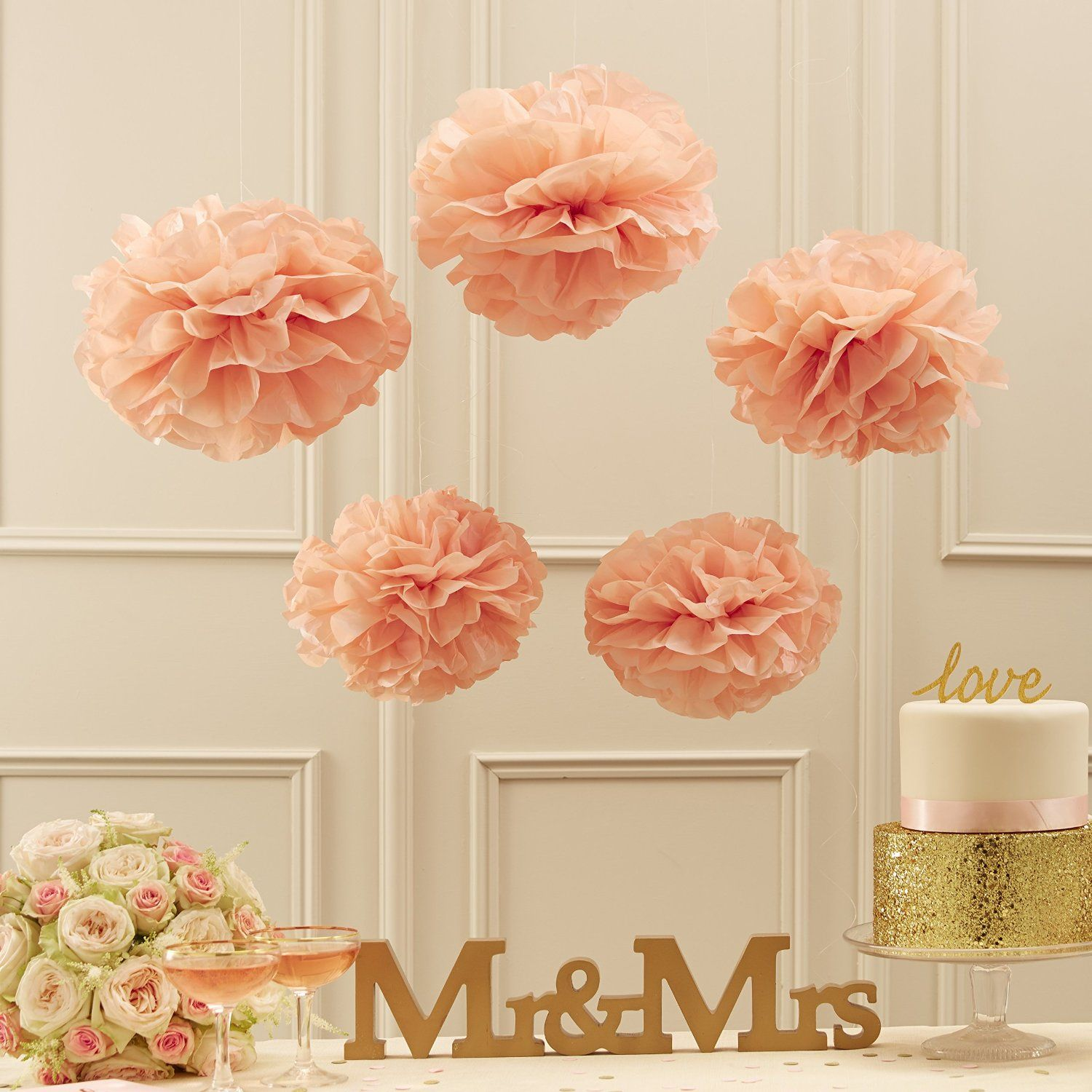 Ginger Ray Pastell Rosa Seidenpapier Pom Poms Party & Hochzeit Dekorationen In Pastellfarben Perfektion