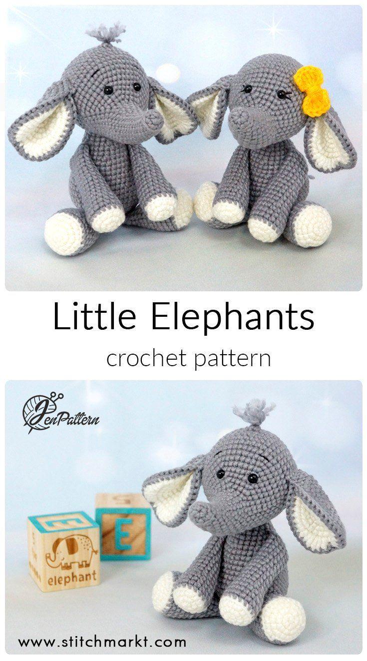 Elephant crochet PATTERN, DIY amigurumi elephant tutorial, Crochet African safari animal pattern. PDF file (English)