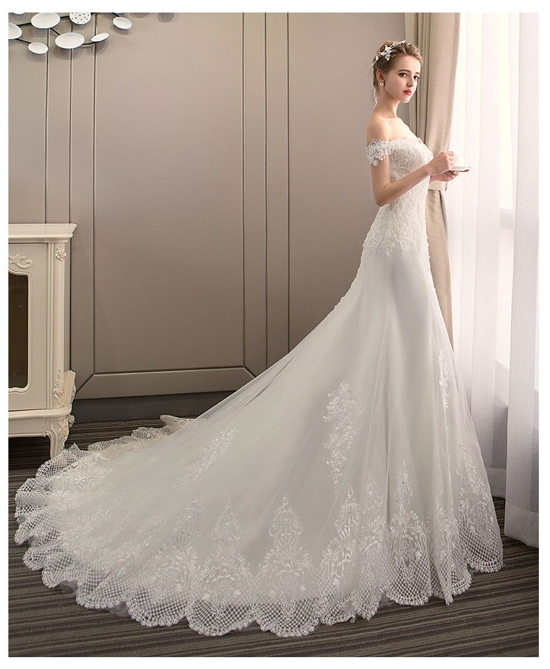 2019 White Ivory Beaded Lace Off Shoulder Wedding Dress Long Mermaid Bridal Gown Fashion Clothing S Ivory Wedding Dress Bridal Gowns Mermaid Wedding Dresses