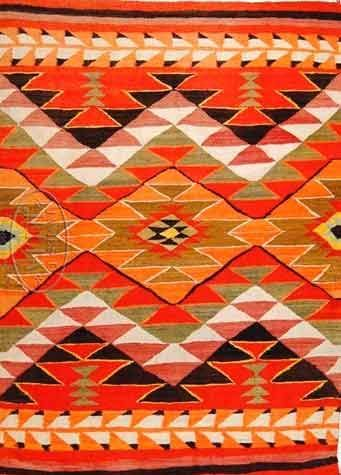 Navajo Transitional Blanket Natural Wool And Synthetic