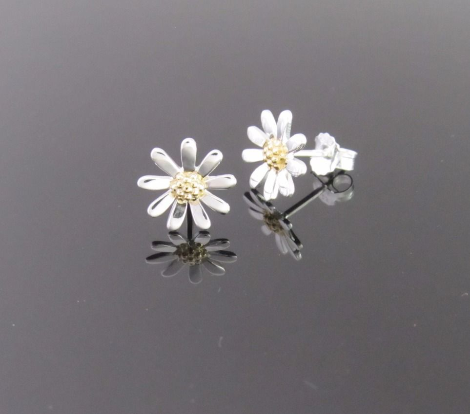 Daisy Earrings 10mm - Sterling Silver with Gold Plate