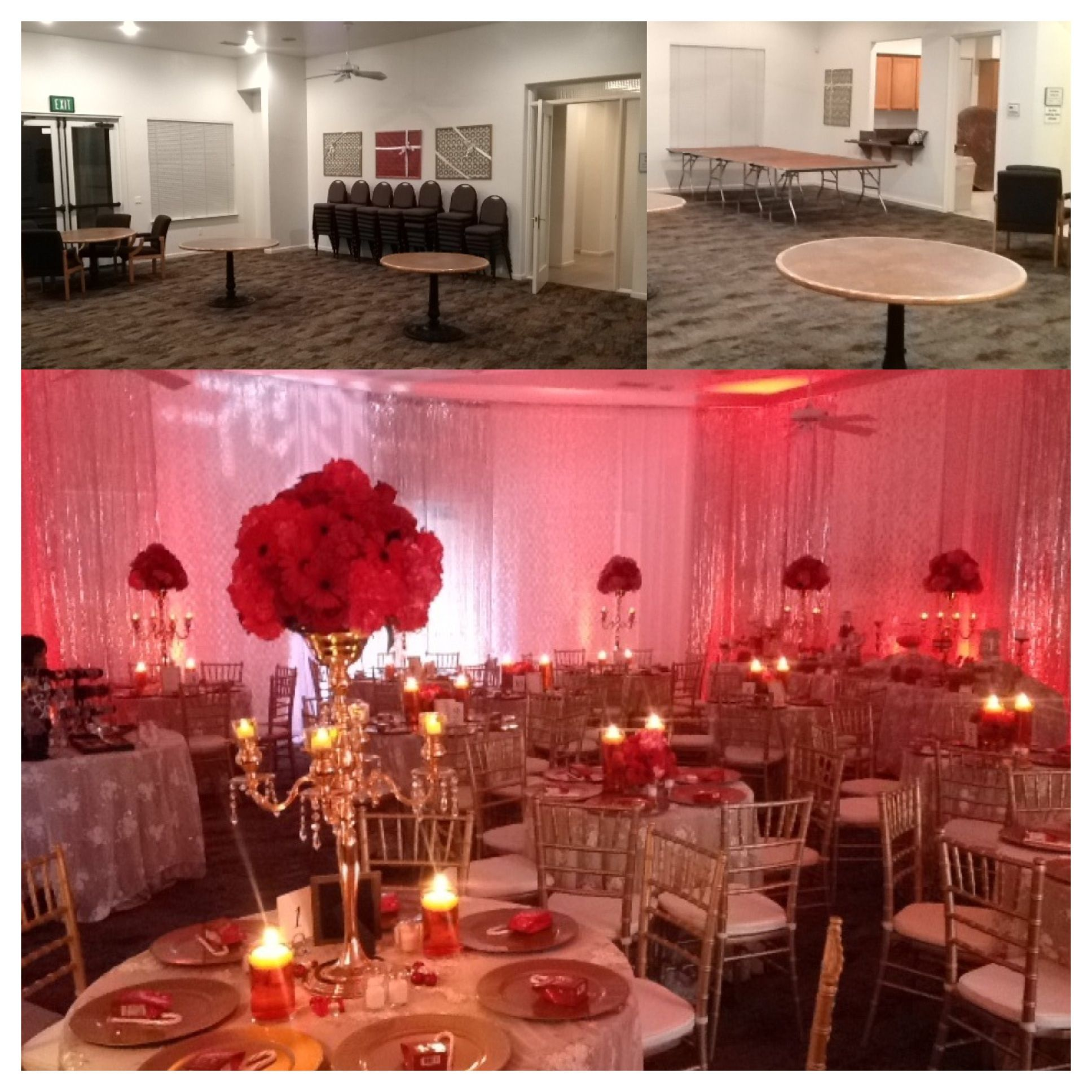 Holiday Party - before and after! Featuring #uplighting and a ...