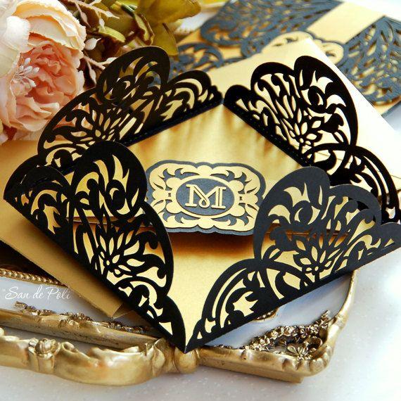 Pin By Anisha On Wedding Invites Simple In 2019: Wedding Stationery Invitation Art Deco Nouveau Monogram