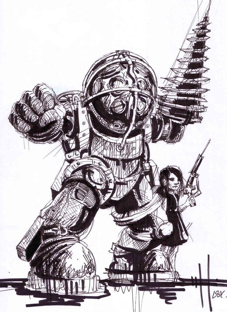 Big Daddy Drawing By Adia28 Bioshock Art Bioshock