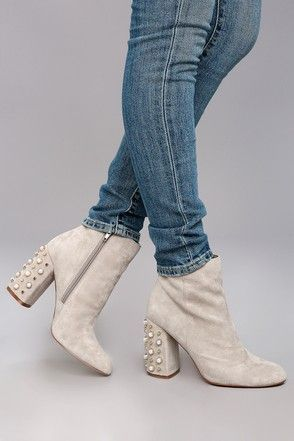 44f862e63a2 Steve Madden Yvette Taupe Suede Leather Studded Booties 4 ...