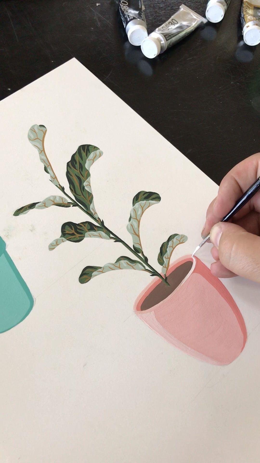 Potted Fiddle-Leaf Fig Plant | Art Print #115 | Boelter Design Co.