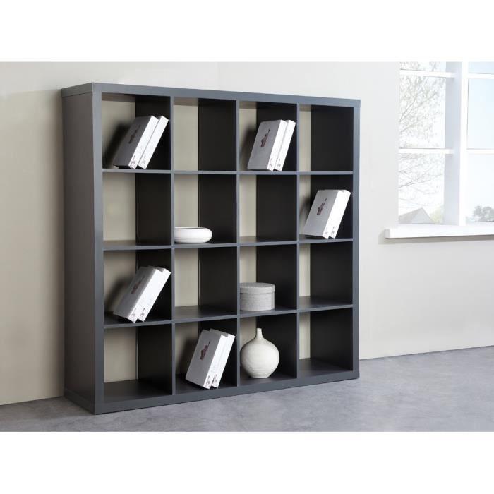 Biblioth que cubico etag re biblioth que 16 niches l149cm pvc gris am nagement int rieur - Petite bibliotheque pas cher ...