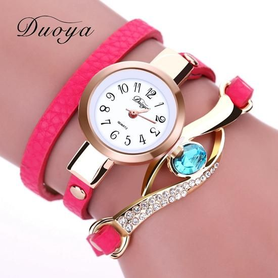 ad27fa1e6eb Duoya Brand Watch Women Luxury Gold Eye Gemstone Dress Watches Women Gold  Bracelet Watch Female Leather Quartz Wristwatches
