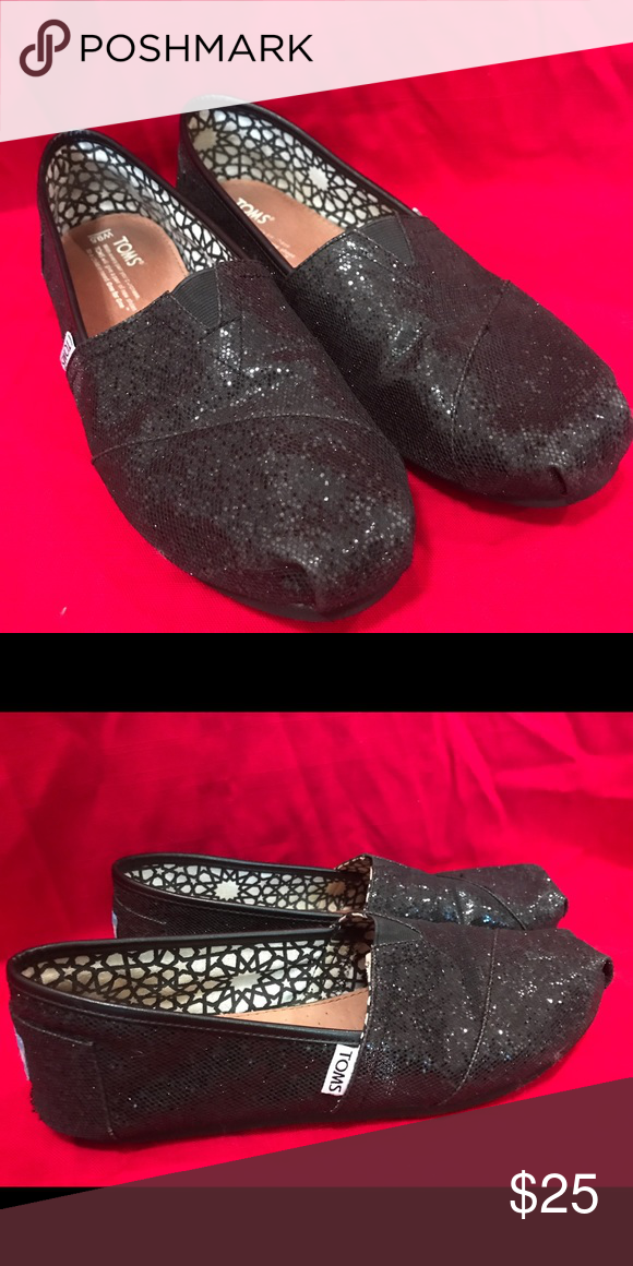 1b8a159f225 Black Glitter TOMS Worn twice! Black glitter TOMS- they re awesome! TOMS  Shoes Flats   Loafers