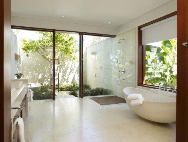 shower stall, wooden slats | Interiors - toilet | Salle de bain ...