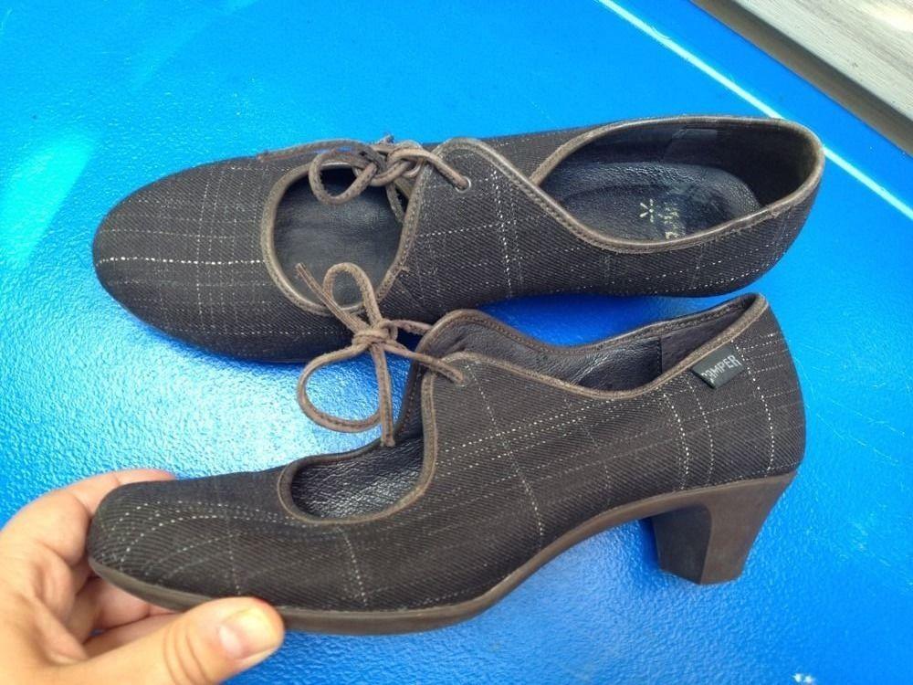 Women's Camper Brown Plaid Wool Casual Shoes Heel Size 7M/38 Euc #Camper #MaryJanes