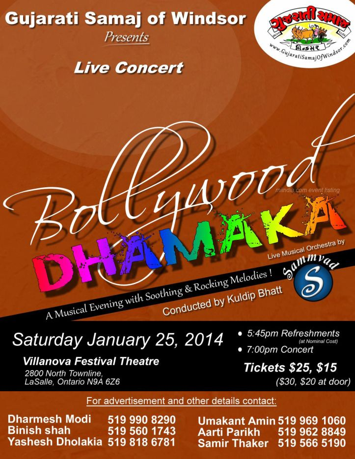Bollywood Musical Dhamaka - Live Concert Jan 25