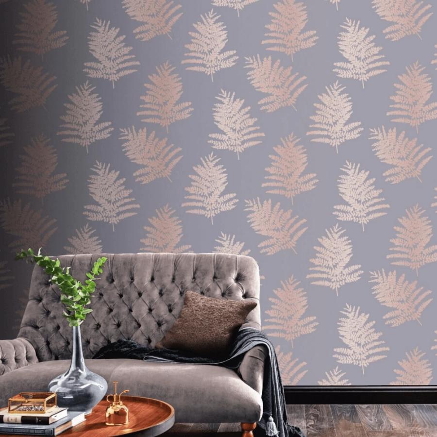 Arthouse Metallic Fern Trees Charcoal Rose Gold Wallpaper 68