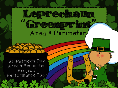 "St.Patrick's Day Area & Perimeter- ""Greenprints"" for a Leprechaun house from PrintablePrompts on TeachersNotebook.com -  (23 pages)  - St.Patrick's Day Area & Perimeter project/ performance task. Includes materials to design ""greenprints"" for a leprechaun house and calculate area & perimeter. (&couple of extension activities!)"