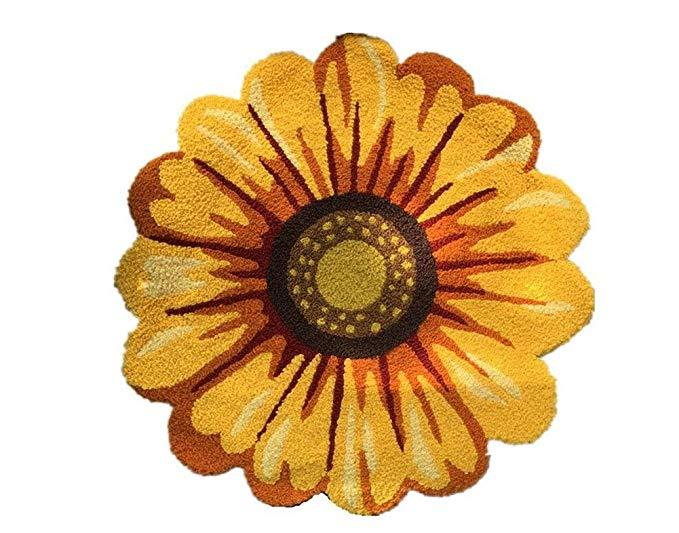 Amazon Com Judy Dre Am Yellow Flowers Round Area Rugs Handmade Sunflowers Acrylic Rug Bedroom Living Room K Bedroom Rug Sunflower Home Decor Sunflower Kitchen #sunflower #living #room #rug