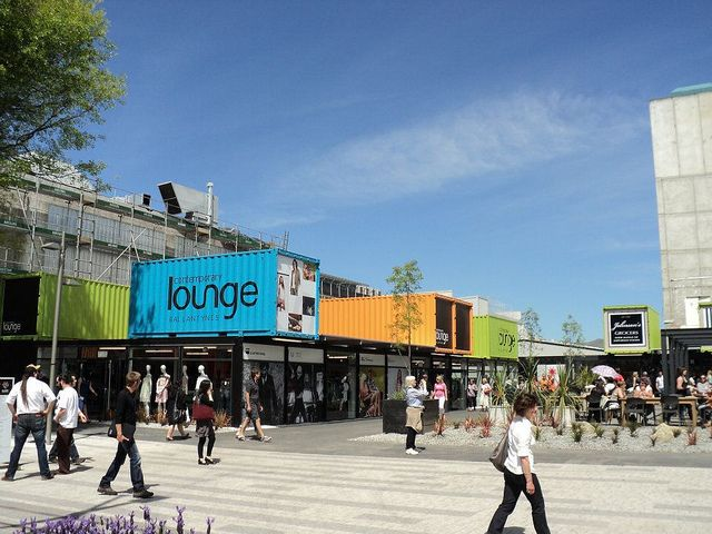 Funky Cashel Pop-Up Mall In Christchurch. A Shopping Zone