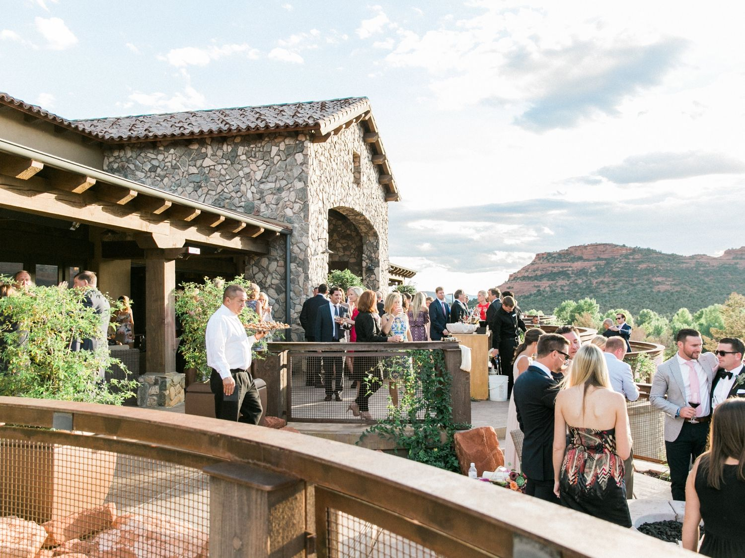 Wedding event background  Outdoor Patio with Mountains in Background  Sedona Southwest Themed