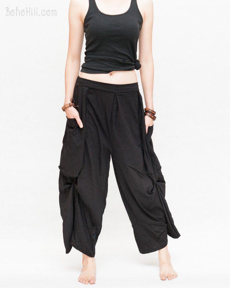 Loose Fit Cropped Harem Pants Oversize Pockets Drape Winglets ...