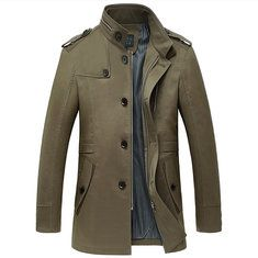 a0f8d84fbc5 Mens Winter Gentlemanlike Coat Single-breasted Warm Turndown Collar Outwear  Online - NewChic Mobile