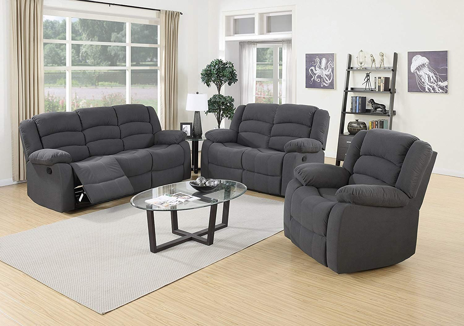 Us Pride Furniture 3 Piece Grey Fabric Reclining Sofa Loveseat Chair Set With Images 3 Piece Living Room Set Blue Grey Living Room Living Room Suite