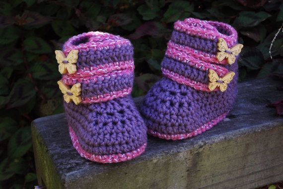Baby Girls Butterfly Crochet Boots love