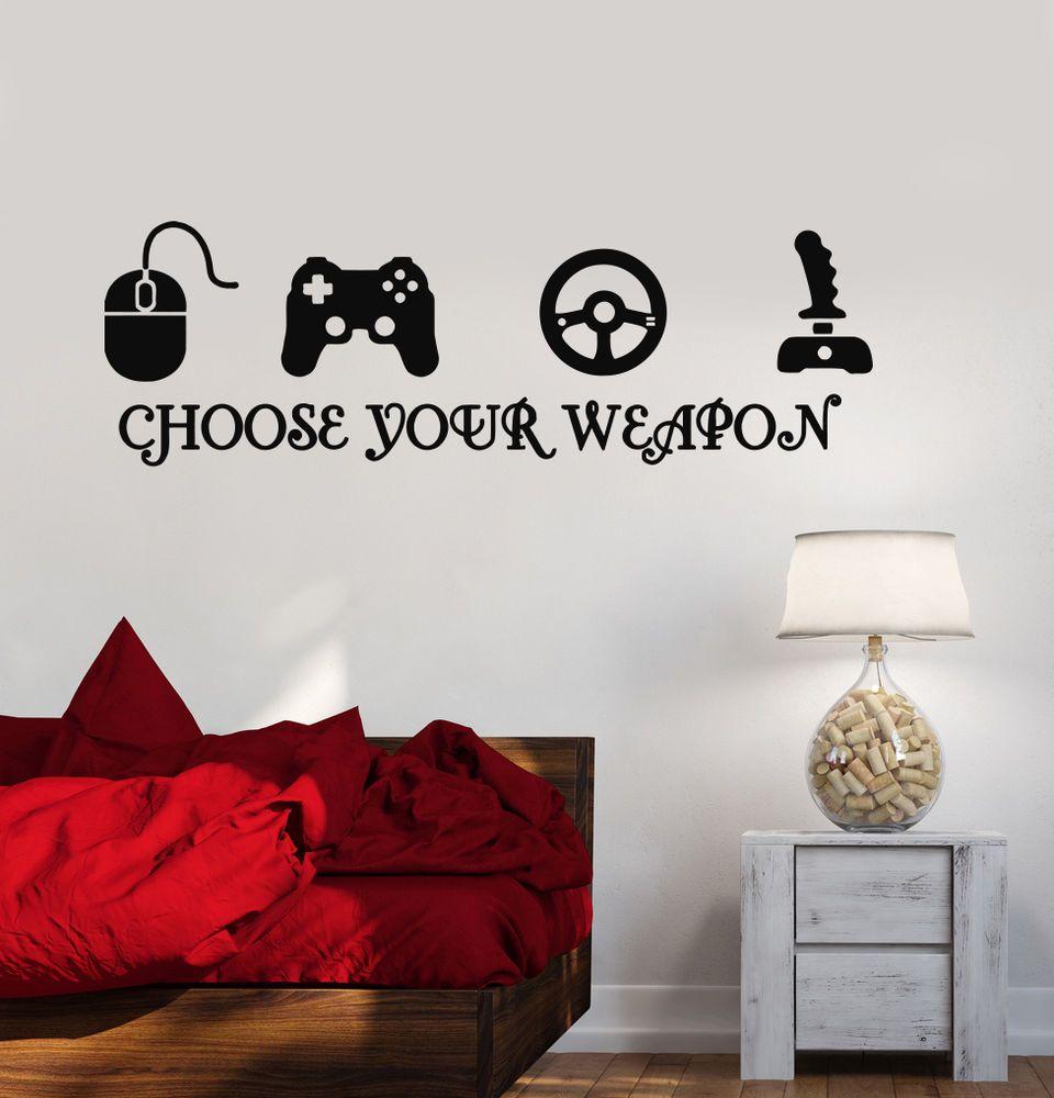 gamer vinyl stickers video game play room joystick esports wall
