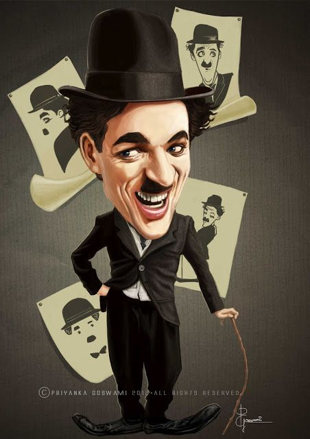 Caricature of Charlie Chaplin A4 Print Picture Poster Comedy Mime Artist Art