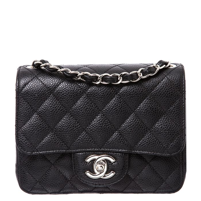 CHANEL Black Caviar Leather Mini Flap Bag  8965c271cb2b9