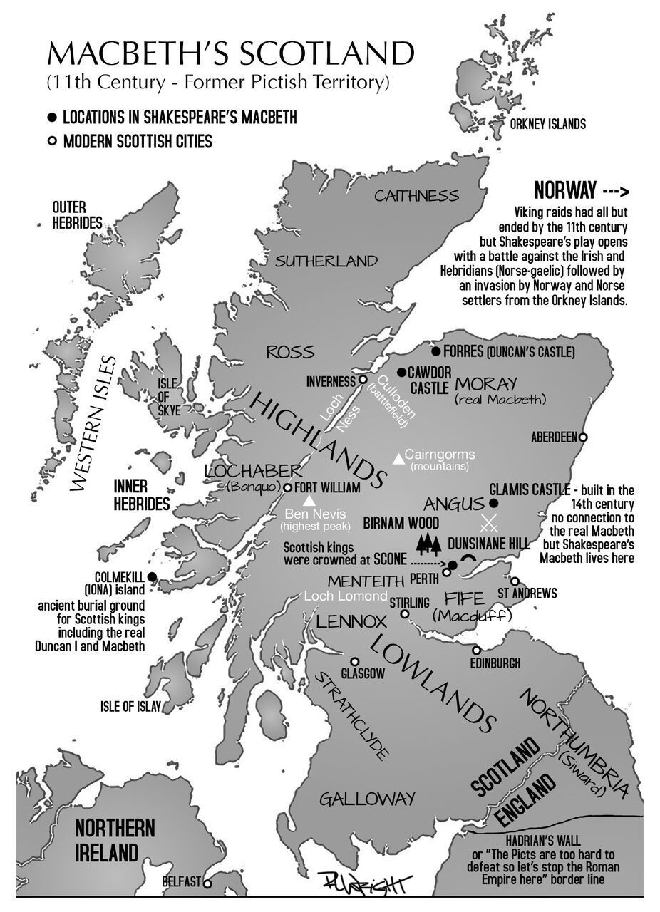 Macbeth S Scotland Map By Rebecca Wright Real Macbeth 11th