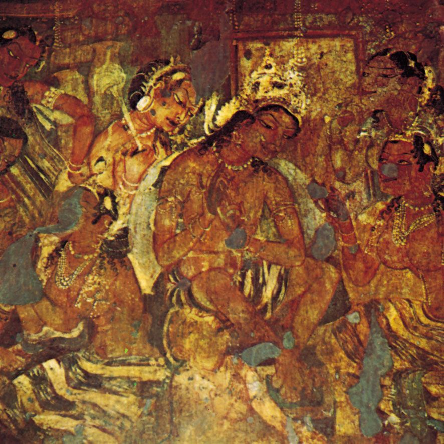 More from the ajanta caves sadhana trilogy pinterest for Ajanta mural painting