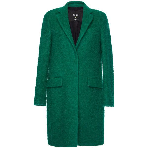 MSGM Wool Boucle Coat (€770) ❤ liked on Polyvore featuring outerwear, coats, blue wool coat, wool coat, long sleeve coat, woolen coat and wool boucle coat
