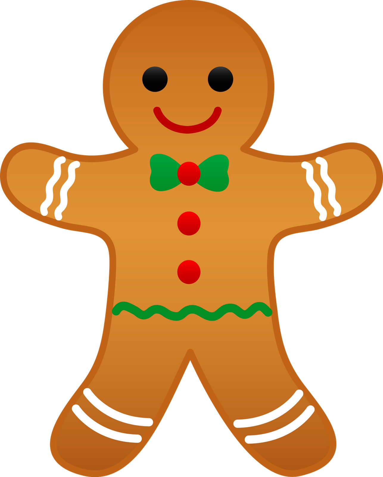 Christmas decorations clipart images - Decoration On Yellow Christmas Gingerbread Man Smiling Image Clipart