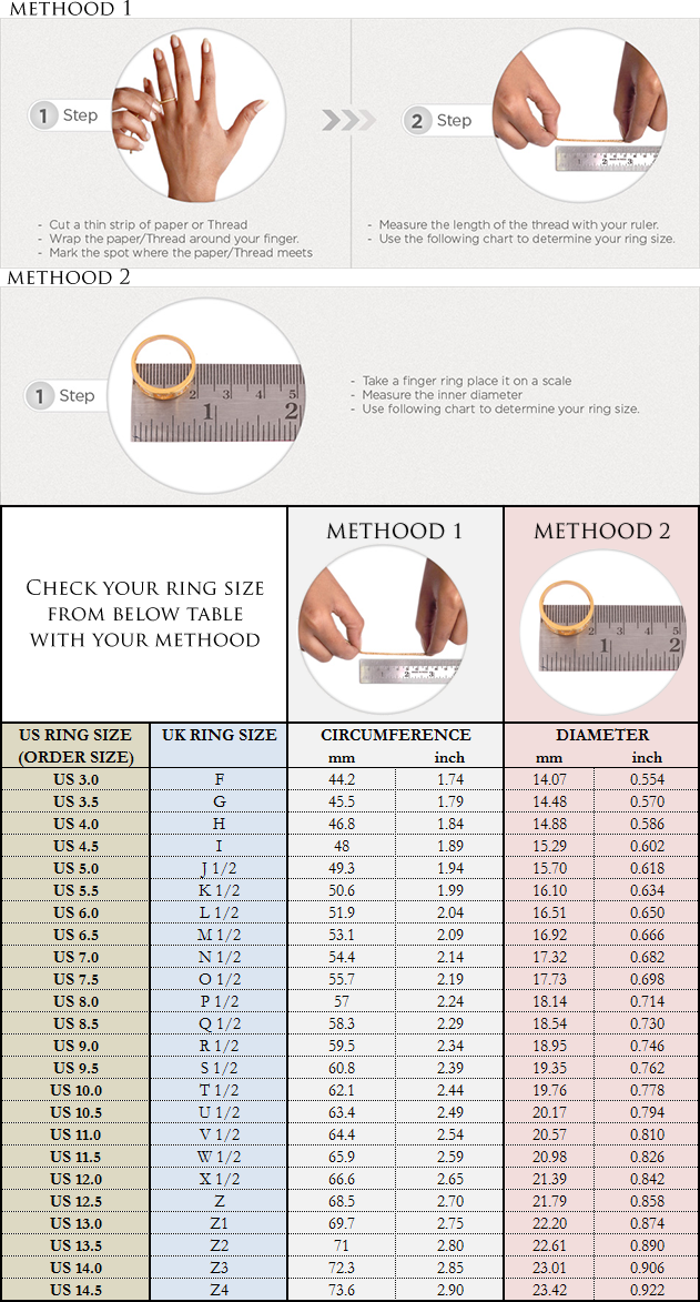 Ring Size Chart for Ring Orders - Boutique Ottoman Online ...