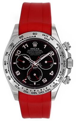 Rolex Cosmograph Daytona Men's Steel Chronograph Watch Red Rubber Band 116520