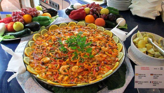 Seafood paella in the hotel Pez Espada, Torremolinos, Costa del Sol, Spain.