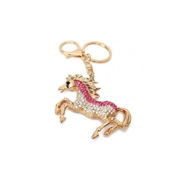 Rhinestone Horse Gold Plated Keychain ($5.11) ❤ liked on Polyvore featuring accessories, keychains, red and fob key chain