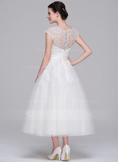 2b34e93c753b A-Line/Princess Sweetheart Tea-Length Tulle Wedding Dress With Ruffle  Beading Appliques Lace Sequins (002071540) - JJsHouse