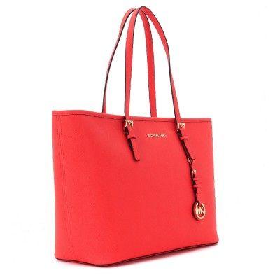 389b0faed4 Laterale Borsa shopping Michael Kors Jet Set Travel in pelle saffiano rosso  corallo