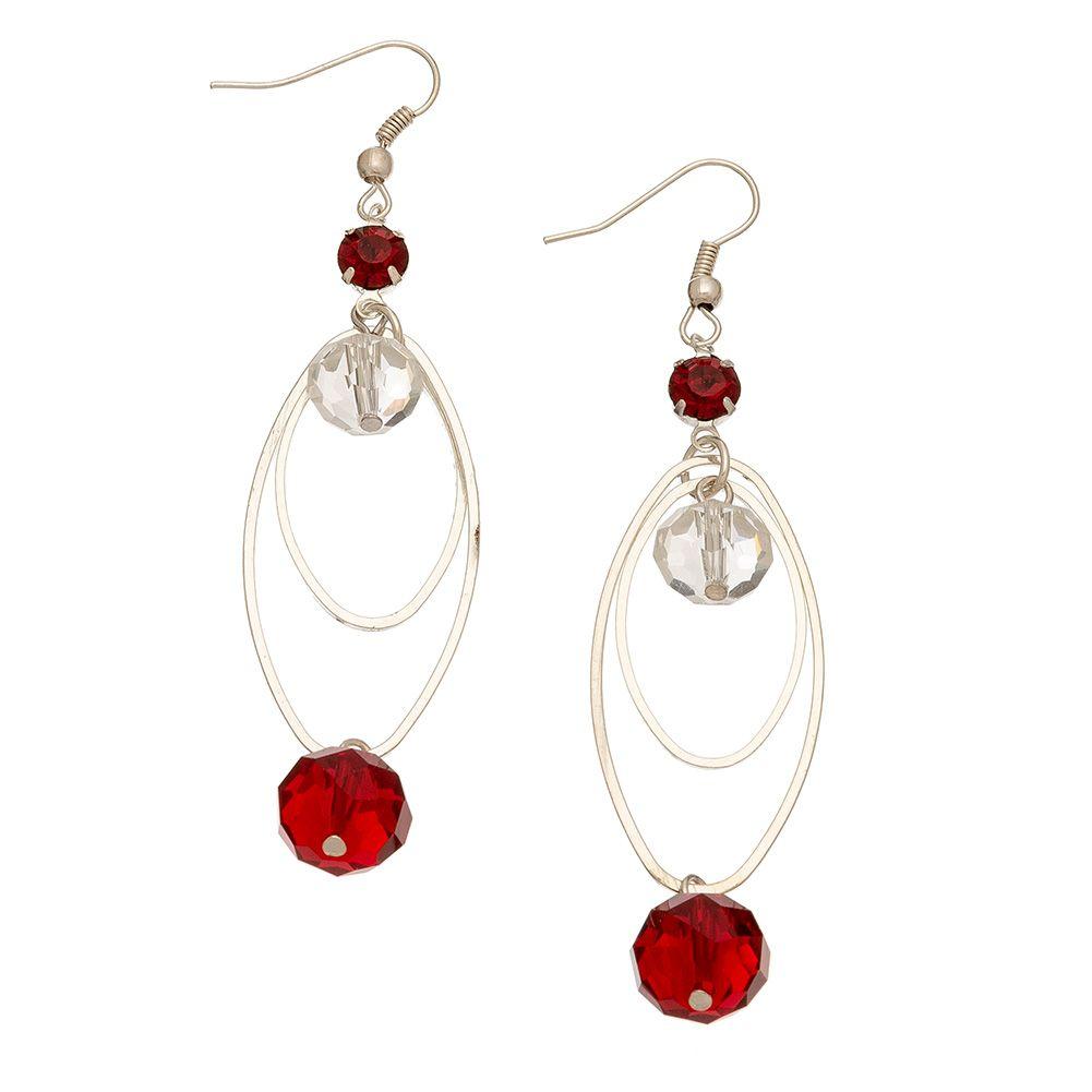 Body piercing earrings  Christmas Facet Bead Pierced Earrings Style Red u White
