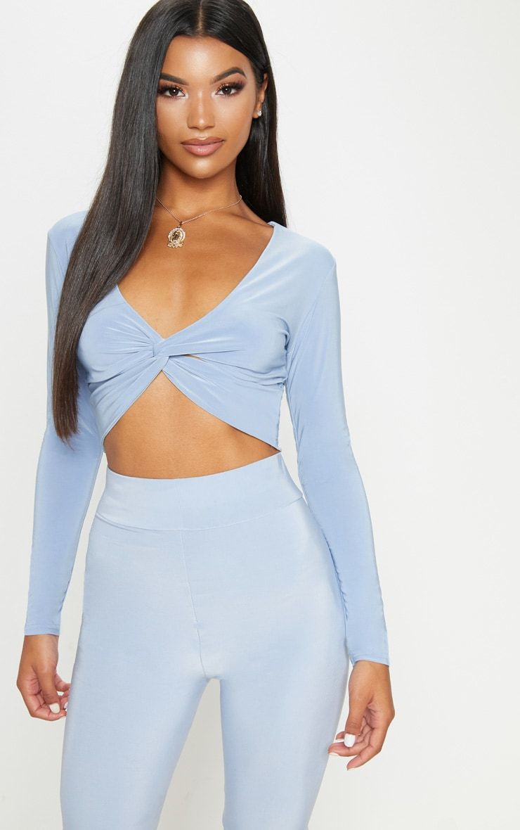 Shape Dusky Blue Slinky Twist Front Crop Top Pretty Little Thing Clearance Popular Recommend Sale Online Really Cheap Price High Quality Buy Online Quality From China Cheap G8GJaRo